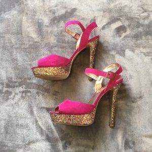 Chunky pink heels